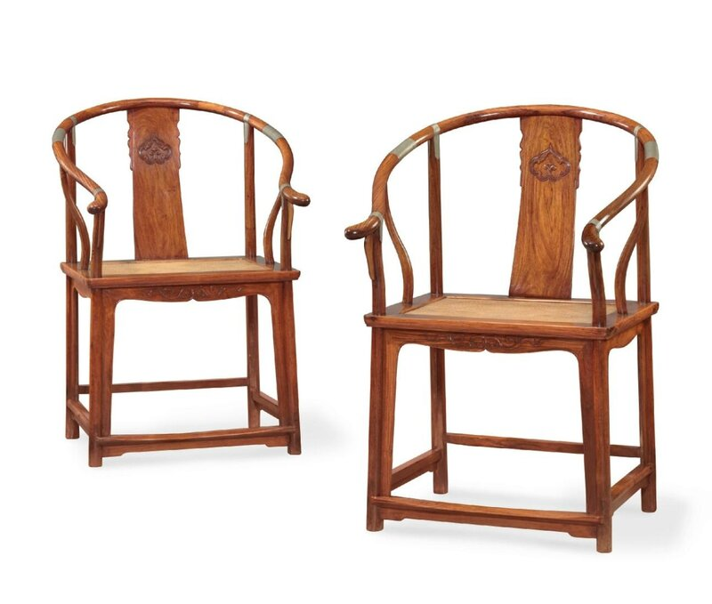 A pair of huanghuali horseshoe-back armchairs, quanyi, 18th century