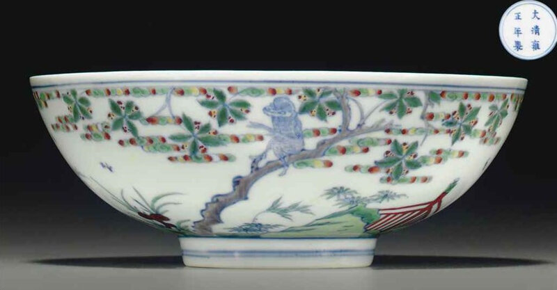 A rare doucai bowl, Yongzheng six-character mark in underglaze blue within a double circle and of the period (1723-1735)