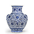 A large blue and white vase, hu, qianlong seal mark, republic period