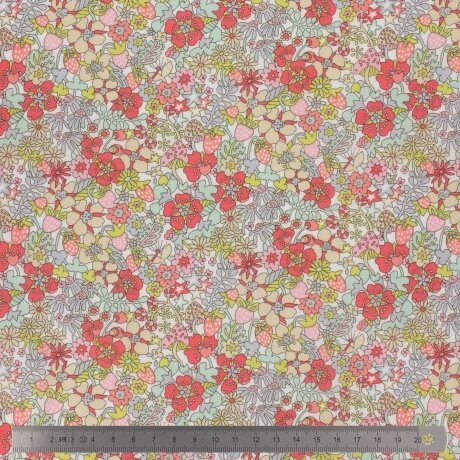 Tissu LIBERTY Flower Tops rose et corail