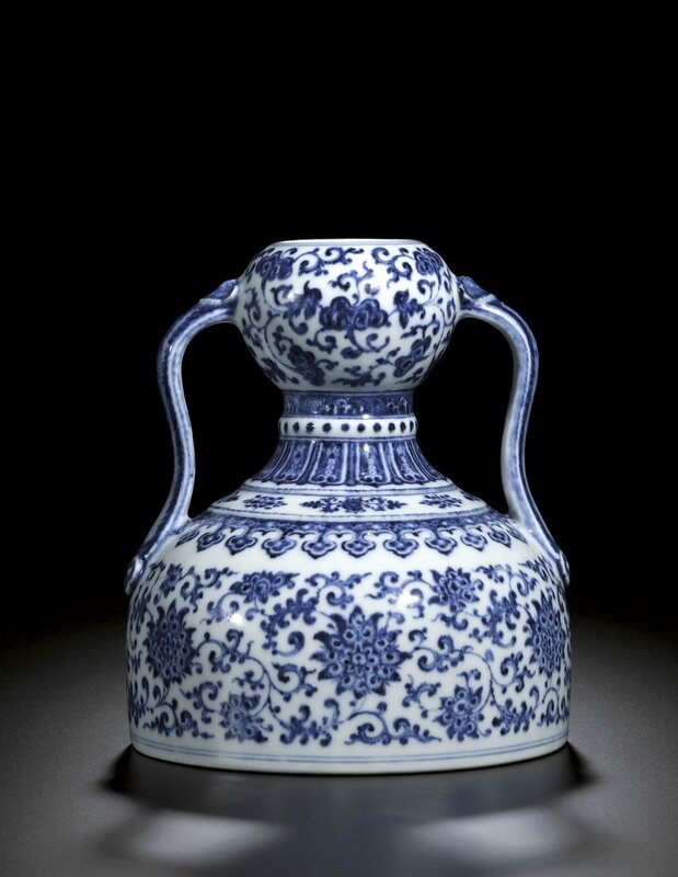 A rare blue and white double-gourd flask, Seal mark and period of Qianlong