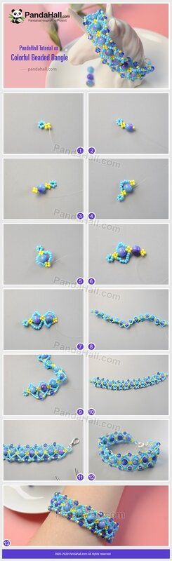 PandaHall-Tutorial-on-Colorful-Beaded-Bangle