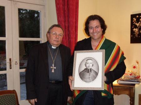 Montauban, novembre 2011 : l'évêque de Montauban accueille Russ Tallchief de la nation Osage
