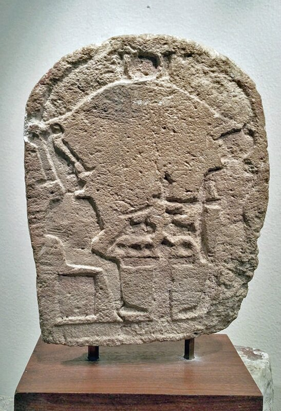 An ancient Egyptian limestone stele, probably from a workshop, Egypt, Ptolemaic Period, 300 to 30 BCE