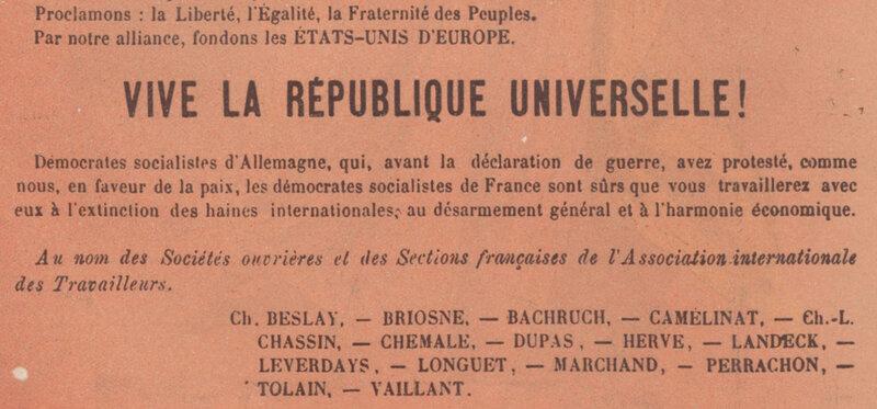 Affiche AIT septembre 1870