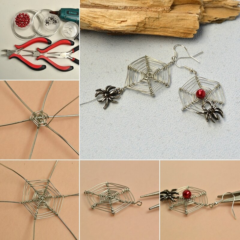 1080-Pandahall-Original-DIY-Project--How-to-Make-a-Pair-of-Wire-Wrapped-Web-and-Spider-Drop-Earrings-for-Halloween