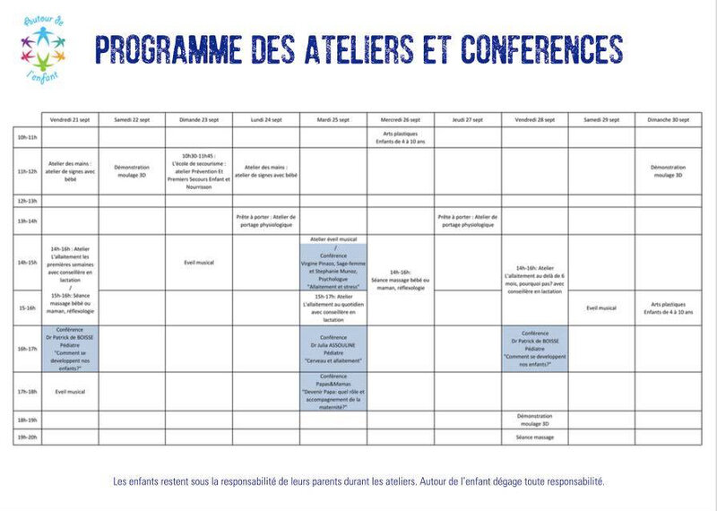 Planning animations conference ade foire