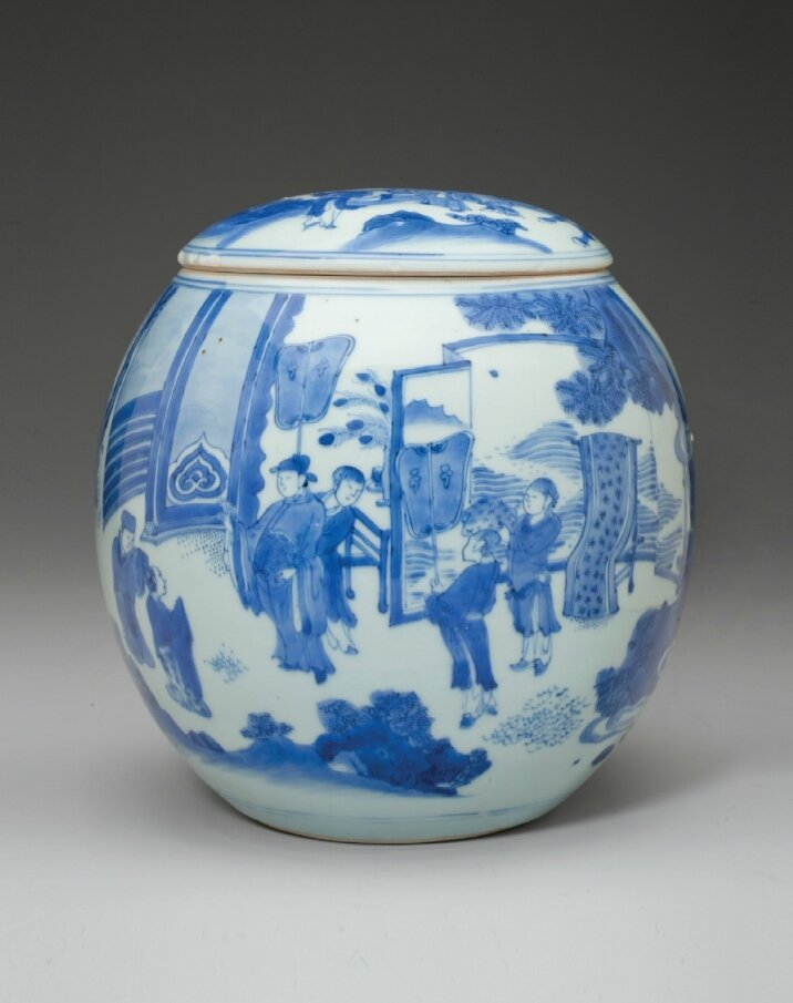 A rare blue and white jar and cover, Chongzhen period, circa 1640
