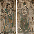 A rare pair of polychrome stucco fresco fragments of bodhisattvas, five dynasties - song dynasty (907-1279)