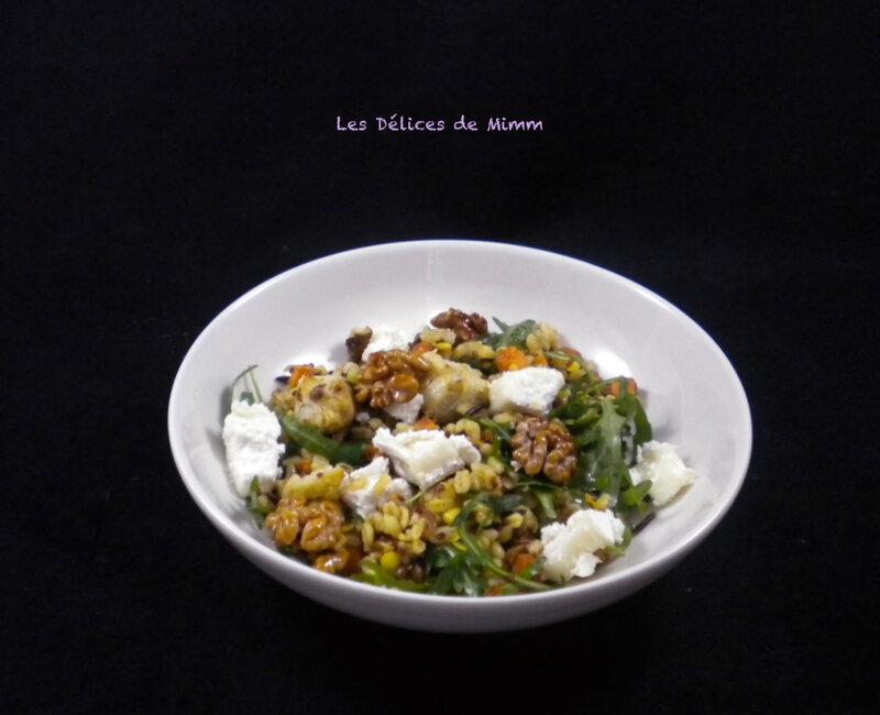 Salade de céréales, fromage de chèvre et noix caramélisées 2