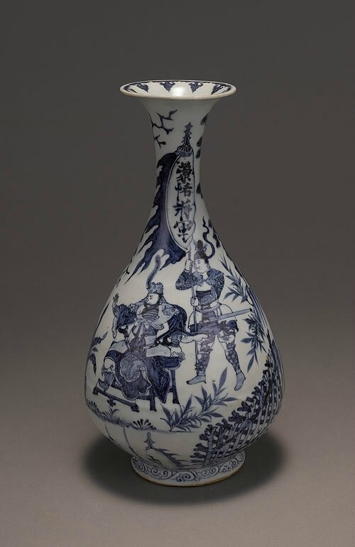Blue-and-white pear-shaped vase with flaring lip and illustrated storie, Yuan Dynasty(1271-1368)