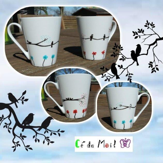 17-03-22 tasses oiseaux peinture sur porcelaine atelier Cultura - défi Vive le printemps! un mois,une créa et +