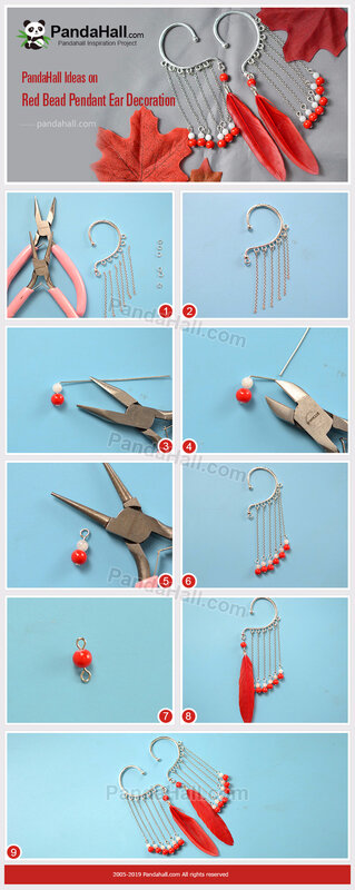 7-Red Bead Pendant Ear Decoration