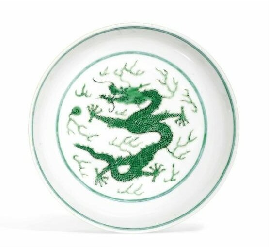 A fine green-glazed 'Dragon' dish, Daoguang six-character seal mark in underglaze blue and of the period (1821-1850
