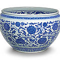 A fine blue and white ming-style jardinière, qing dynasty, qianlong period (1736-1795)