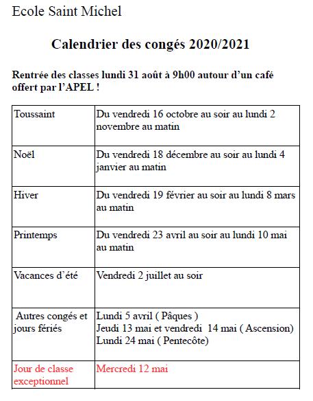 Calendrier Classe Exceptionnelle 2021 Calendrier scolaire 2020 2021   Ecole Saint Michel La Haye Pesnel