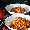 Linguine & crevettes a la sauce piquante