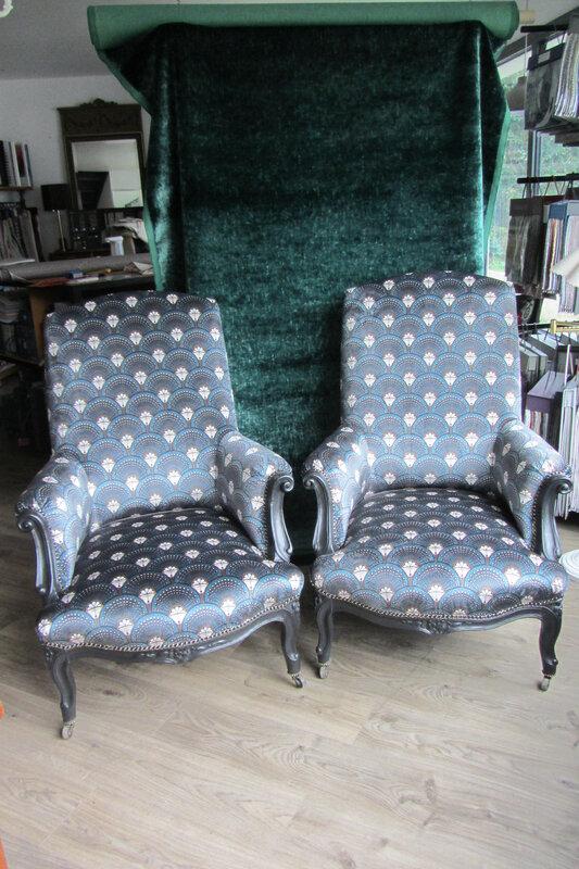 fauteuils anglais retapissés