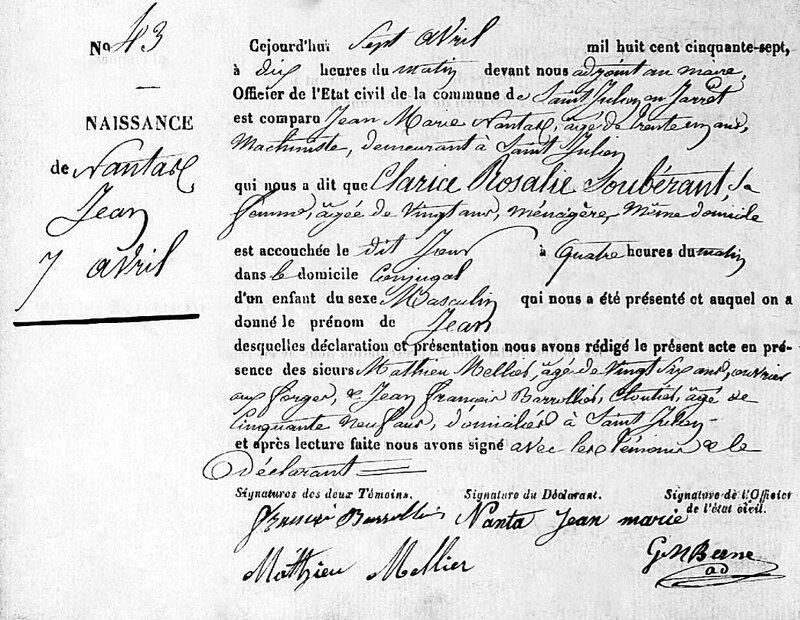 Jean Nantas acte naissance 1857