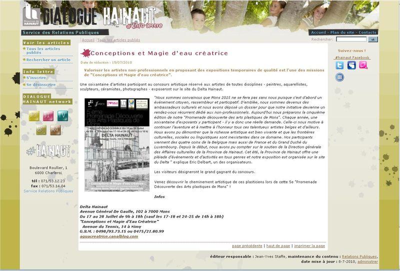 Page WEB Province Hainaut