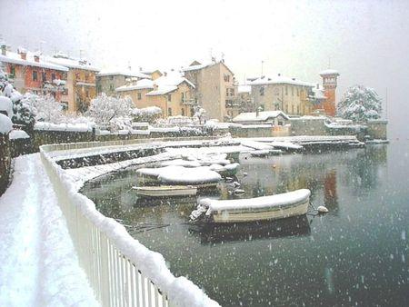 1 Sala Comacina Lake Como under a rare blanket of snow