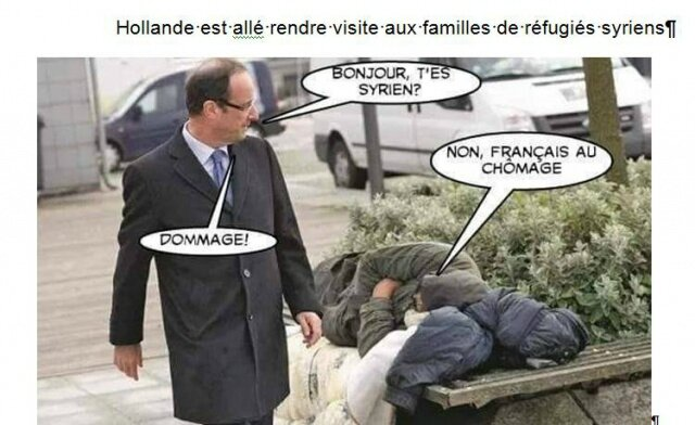 ps hollande humour sdf refugie collabo