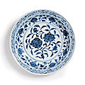 A fine large blue and white 'roses' dish ming dynasty, yongle period (1403-1424)