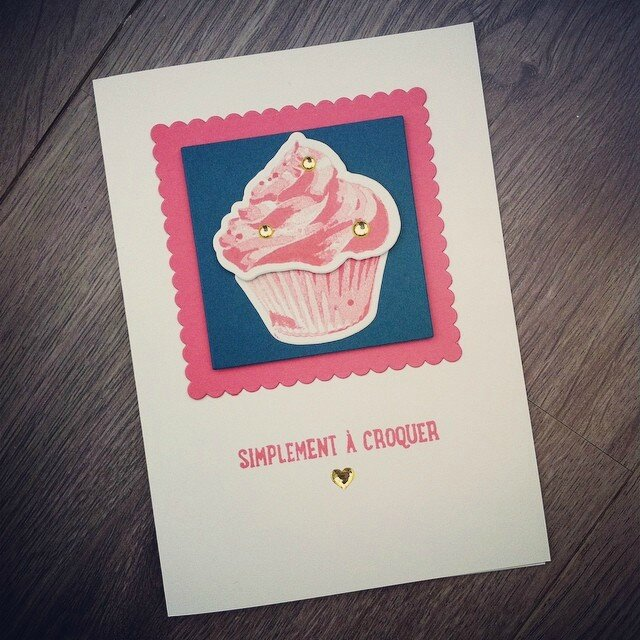 Carte Cupcake Flamant Denim