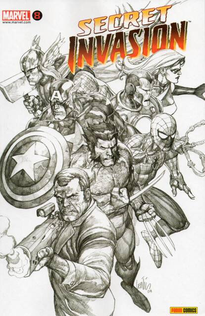 panini secret invasion 08 black & white variant
