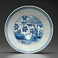 A blue and white shallow bowl, Chongzhen period, circa 1643