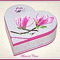 Coffret Cœur Bois peint Magnolias papillon 14,5x14,5x5cms