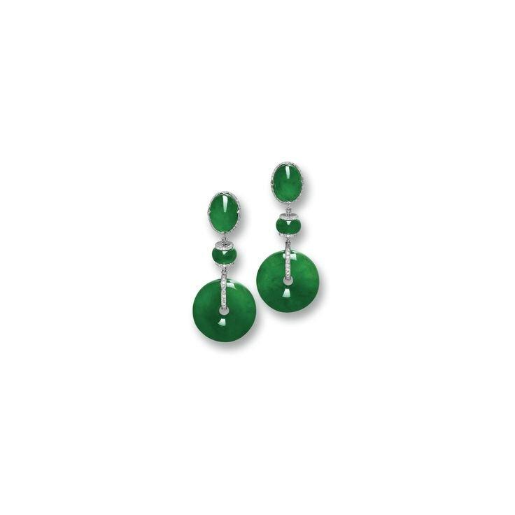 Fine Pair of Jadeite 'Discs', Jadeite and Diamond Pendent Earrings