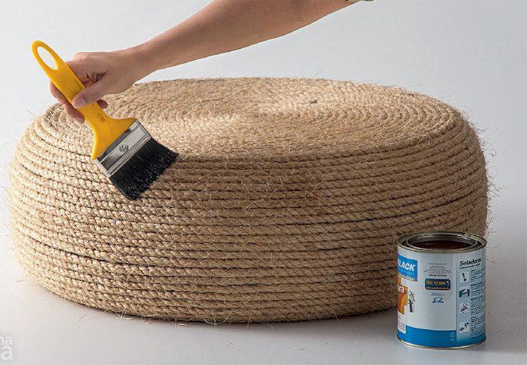 Fabriquer un pouf en pneu et corde- tutoriel en photos par étapes !