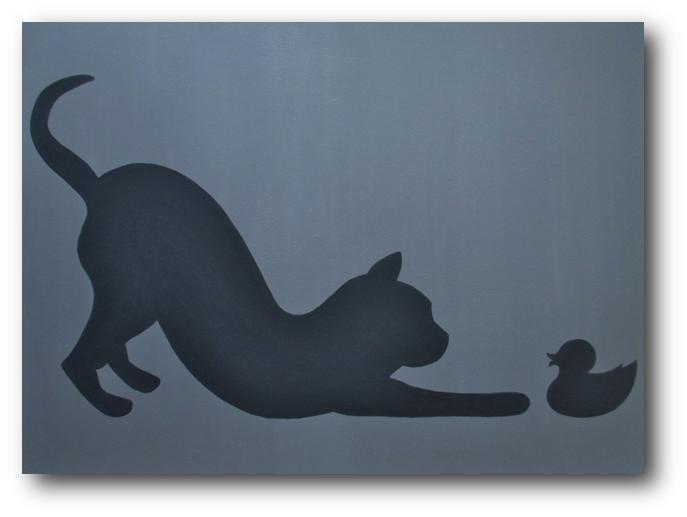 Chat & canard (panneau bois) - CélinArtisa