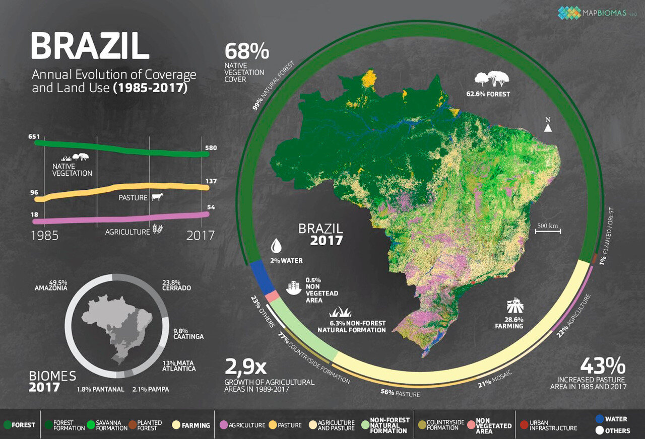 How Brazil used its land, 1985 to 2017