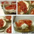 Verrines caviar d'aubergines/ricotta/coppa une