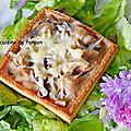 Tartelette à la crème de champignon des bois sur un lit de pesto à l'ail des ours