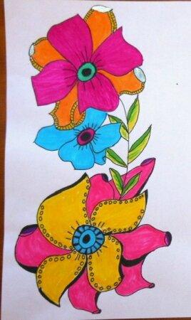 Fleurs coloriées feutre aout 3