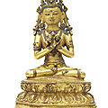 A gilt copper alloy figure of vajradhara, tibet, 15th-16th century
