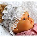 Bandeau bébé dentelle blanc papillon fleur bapteme, mariage