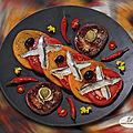 Carpaccio de tomates aux anchois roque de collioure