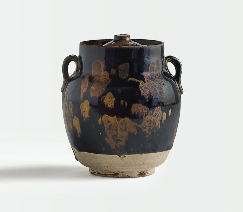 A russet-splashed black-glazed jar and cover, Northern Song dynasty (960-1127)