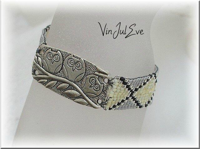 bracelet loom chouette jaune gris noir