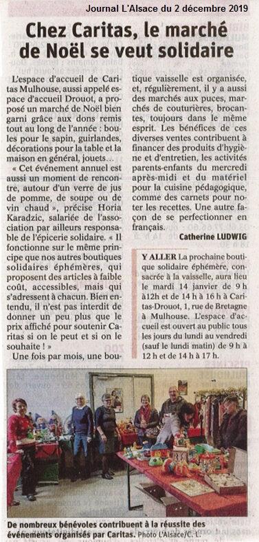 Quartier Drouot - Marché de Noël solidaire Caritas - Journal L'Alsace