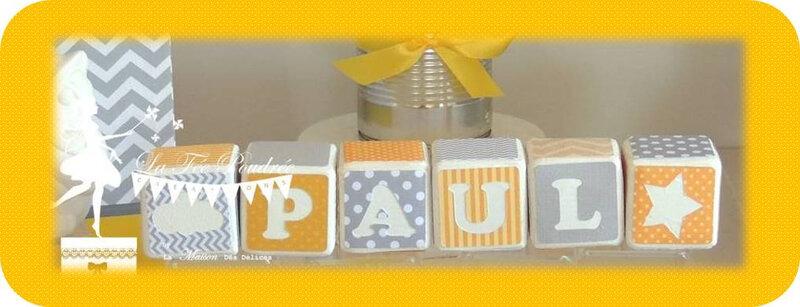cube decores cadeau naissance theme hibou jaune gris2