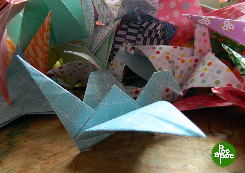 origami,grue,papier japonais,poc a poc,decoration 5 blog