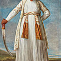 Elisabeth-louise vigée le brun, portrait of muhammad dervish khan, full-length, holding his sword in a landscape, 1788