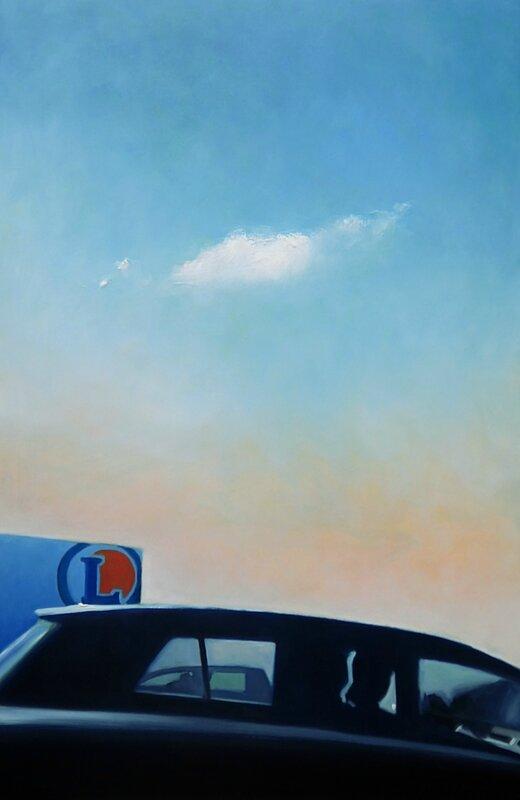 horizon elevation 62, dans le traffic n'oublie pas de regarder le ciel, Juin 2016, huile sur médium, 80 x 122 cm