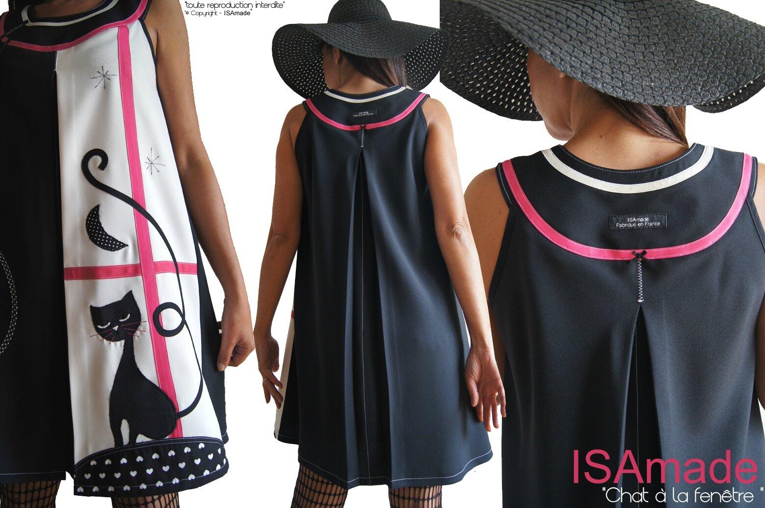 Robe Chat Trapèze chasuble Graphique créateur Noir/Blanc Bicolore Style Années 60