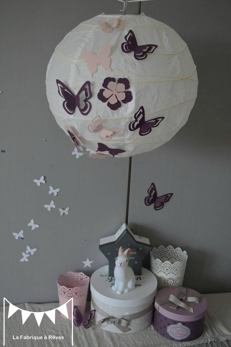 luminaire suspension abat jour papillons fleurs violet parme ...